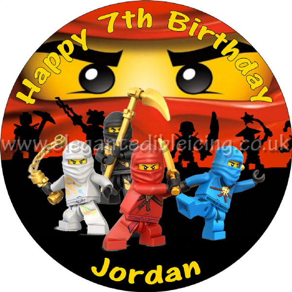 NINJAGO CAKE TOPPER PERSONALISED EDIBLE NINJAGO KAI PARTY CAKE DECORATION